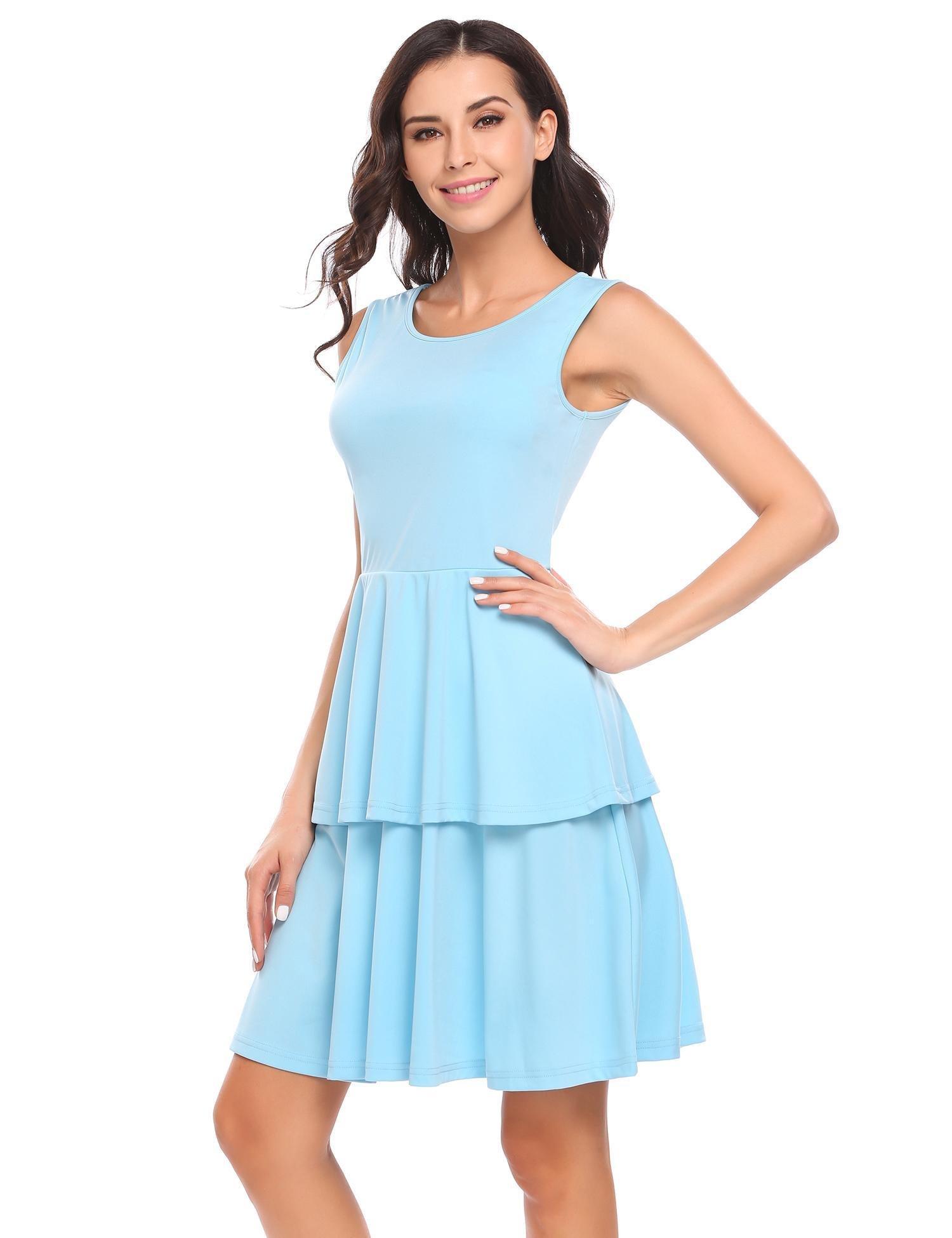 Chigant Damen Sommer Frühling Ärmellos Kleider Rundausschnitt A-linie Partykleid Mini Cocktailkleid Abendkleid