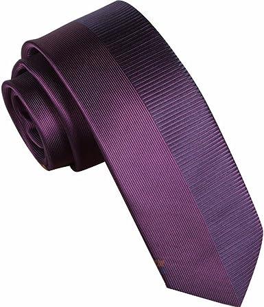 HXCMAN 7cm borgoña morado Retazos rayas corbata Diseño clásico ...