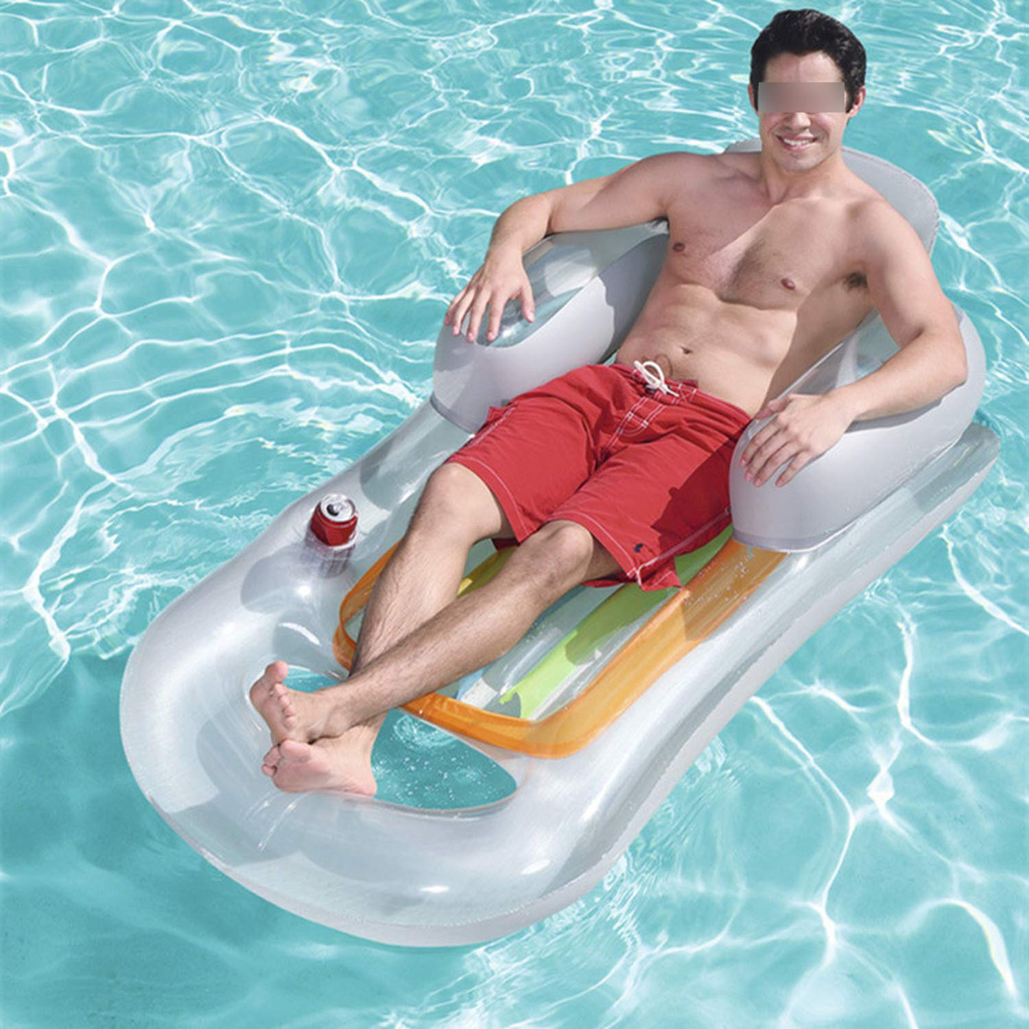 QIUHUAXIANG Inflatable Floating Row 157X89Cm Beach Swimming Air Mattress Pool Floats Floating Lounge Sleeping Bed for Water Sports Party,Random Color by QIUHUAXIANG (Image #3)