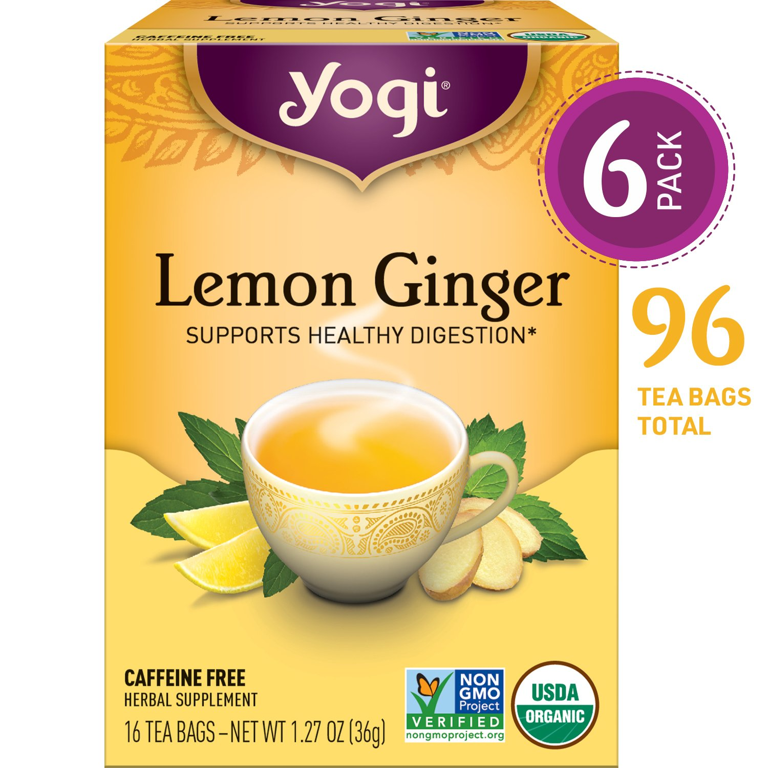 Yogi Tea - Stomach Ease - Supports Healthy Digestion - 6 Pack, 96 Tea Bags Total 076950450035