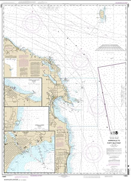 NOAA Chart 14864-Harrisville to Forty Mile Point; Harrisville Harbor; Alpena; Rogers