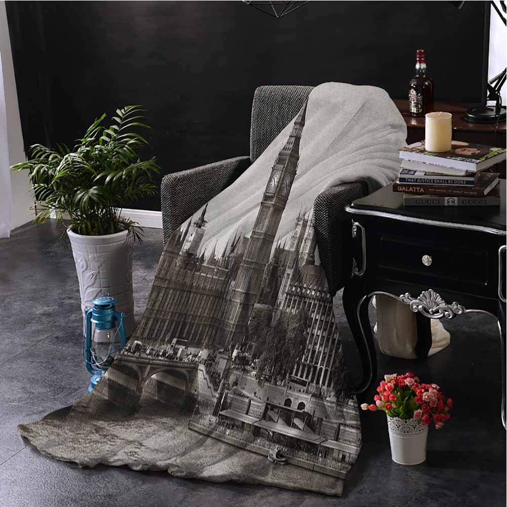 Luoiaax London Children's Blanket Westminster with Big Ben and Bridge Nostalgic Image British Antique Architecture Lightweight Soft Warm and Comfortable W70 x L84 Inch Sepia White