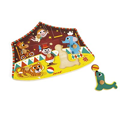 Janod 6 Piece Stars of The Circus Themed Wooden Peg Colorful Jigsaw Puzzle - Encourages Shape Recognition, Dexterity, and Language Development - Preschool Kids and Toddlers 18 Months+: Toys & Games
