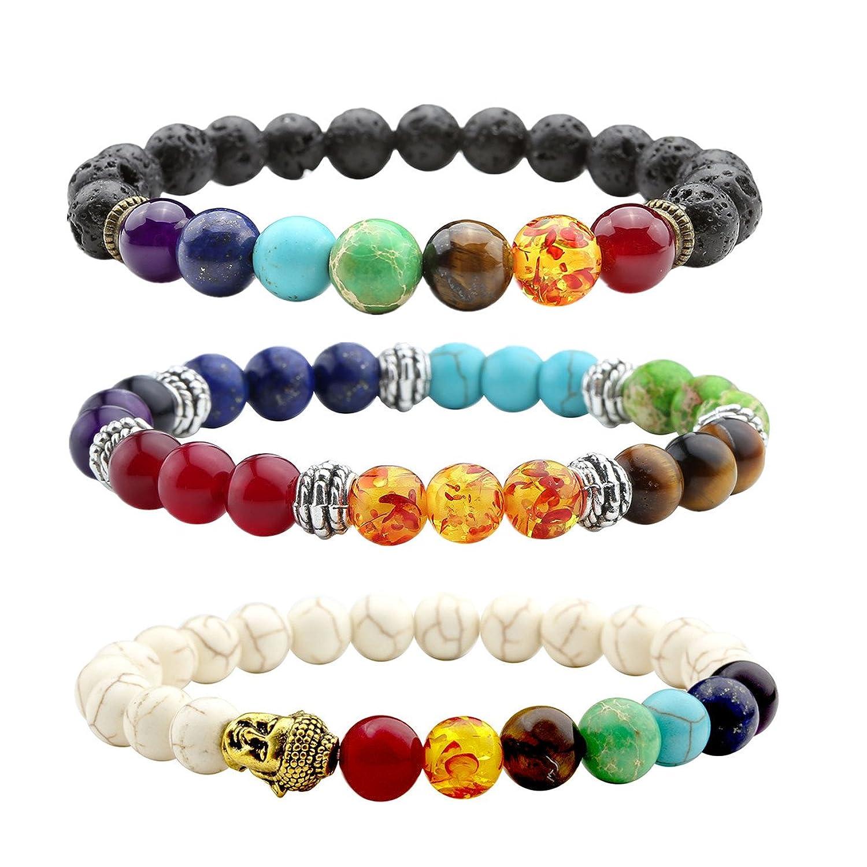 Jovivi 3 pcs Bracelet Tibétain Extensible Élastique , 7 Chakra Perles de  Lave + Turquoise Blanches + Pierres Quartz Perles d\u0027Energie , Unisexe  17.5cm 8mm