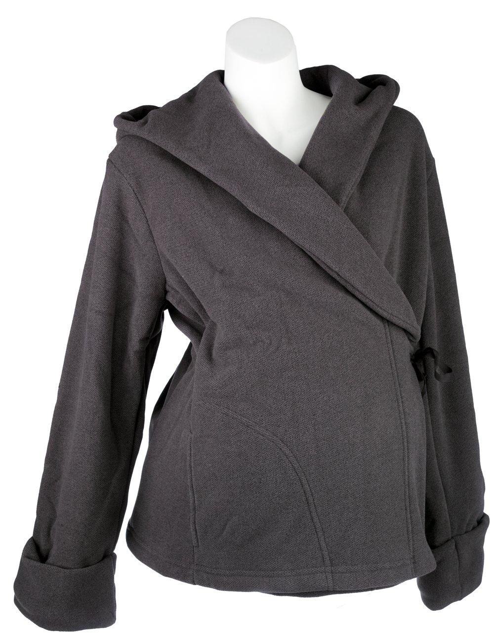 Mountain Mama Women's Fairview Maternity Fleece Wrap Jacket, Charcoal, XX-Large