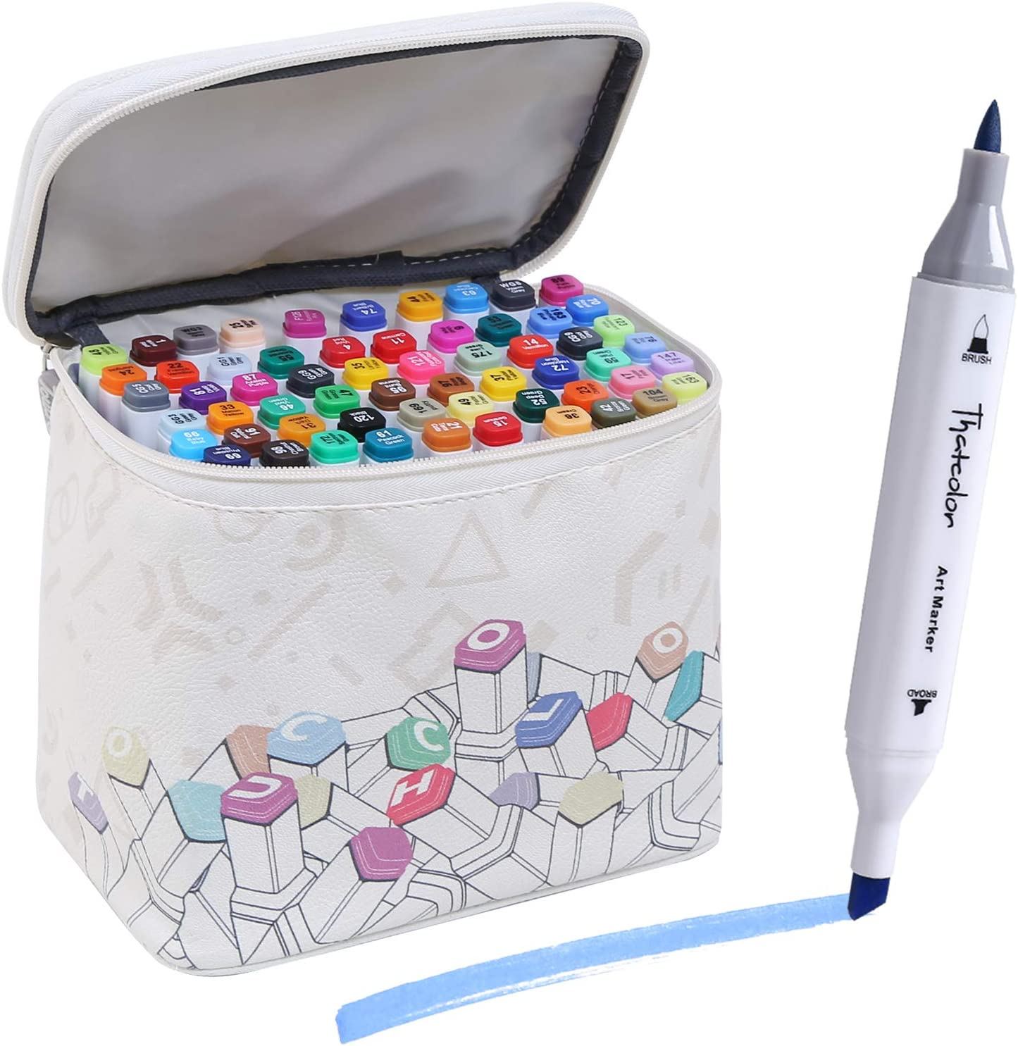 Thatcolor 60 Colors Alcohol Brush Markers with Storage Zipper Bag Dual Tips Markers Set for Adult & Kids, Drawing Markers Brush Art Pen Manga for Drawing Coloring with 1 Blender, White