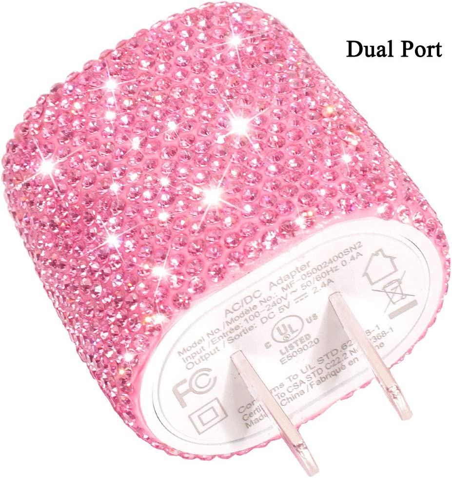 USB Wall Charger Bling 5V/2.4A 24W Dual Port Fast Charger Plug Cell Phone Block Adapter Pink for iPhone Android Samsung iPad Tablet etc.