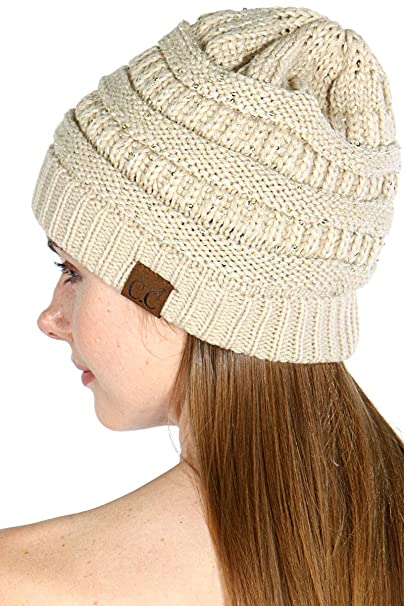 8e0e23a351e785 SERENITA Knit Beanie hat, Soft Warm Cable Winter Chunky Sequin Cap,  Oversized Slouchy stretcing, for Women at Amazon Women's Clothing store: