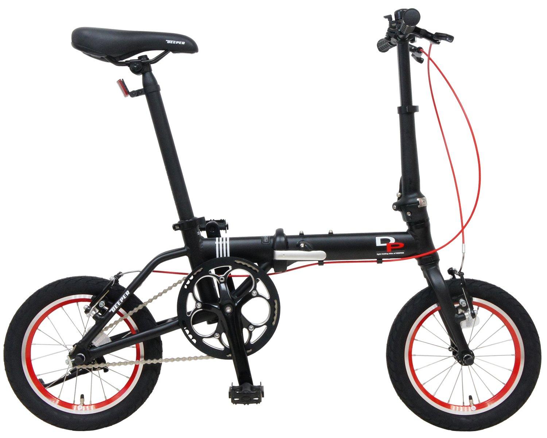 DEEPER(ディーパー) 14インチ 折り畳み自転車 DFB-140 アルミフレーム JIS耐振動試験合格フレーム採用 持ち運びに便利な輪行キャリングバッグ付き 超軽量モデル (ブラック) B077M88C7N