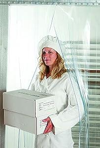 "Strip Curtain Door Kit - 48"" x 84"" - Set of Clear PVC Vinyl Strips for Walk in Freezer, Commercial Kitchen, Unit Cooler Room, Warehouse Doorways - Steel Universal Mount Hardware Included"
