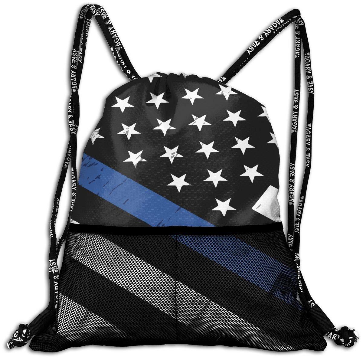 Hipiyoled Police Thin Blue Line Flag Durable Sport Drawstring Backpack for School Soccer Yoga