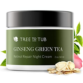 Pure Retinol Sensitive Skin Moisturizer. The Only pH 5.5 Anti Aging Cream For Glowing Skin. Advanced Night Repair with Pure Hyaluronic Acid, Natural Vitamin E, Vitamin C for Face, 2 oz—by Tree To Tub