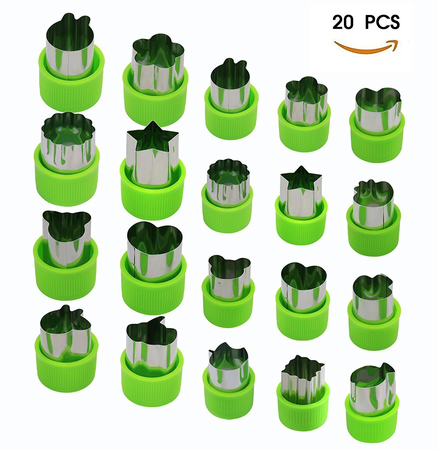 Joyoldelf Vegetable Cutters Set (20 Pcs), Stainless Steel Fruit and Cookie Cutter Shapes Cheese Presses Mold with Anti-Slip Protection Handle, for DIY Fun Food & Decoration