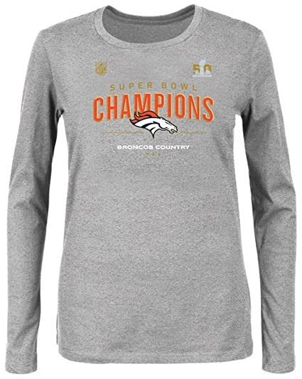 caed2389 Majestic Denver Broncos NFL Womens Long Sleeve Superbowl 50 Champion Shirt  Gray Heather Plus Sizes (
