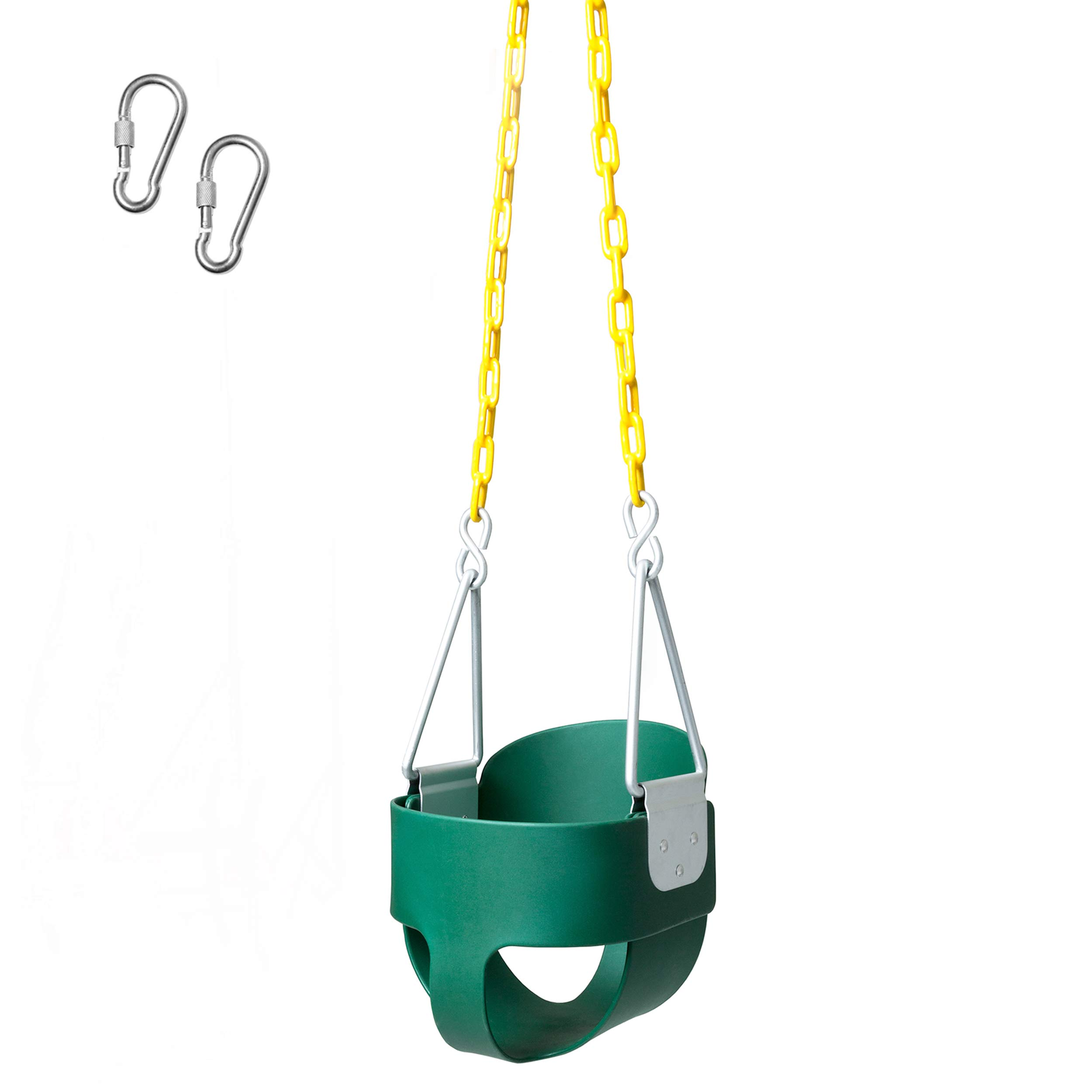 Heavy Duty High Back Toddler Bucket Swing - 250 lb Weight Capacity, Fully Assembled, Safety Coated Swing Chain Easy Setup by Barcaloo