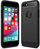 """FinestBazaar Shockproof Silicone Light Brushed Grip Case Protective Case Cover For Apple iPhone 6/6s (4.7"""") Black + Free Screen Protector"""