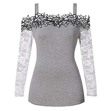 Blusa para Mujer Lonshell Otoño Invierno Moda para Mujer Slash Cuello Manga Larga Casual Tallas Grandes Apliques de Encaje Frío Hombro Camiseta Tops: ...