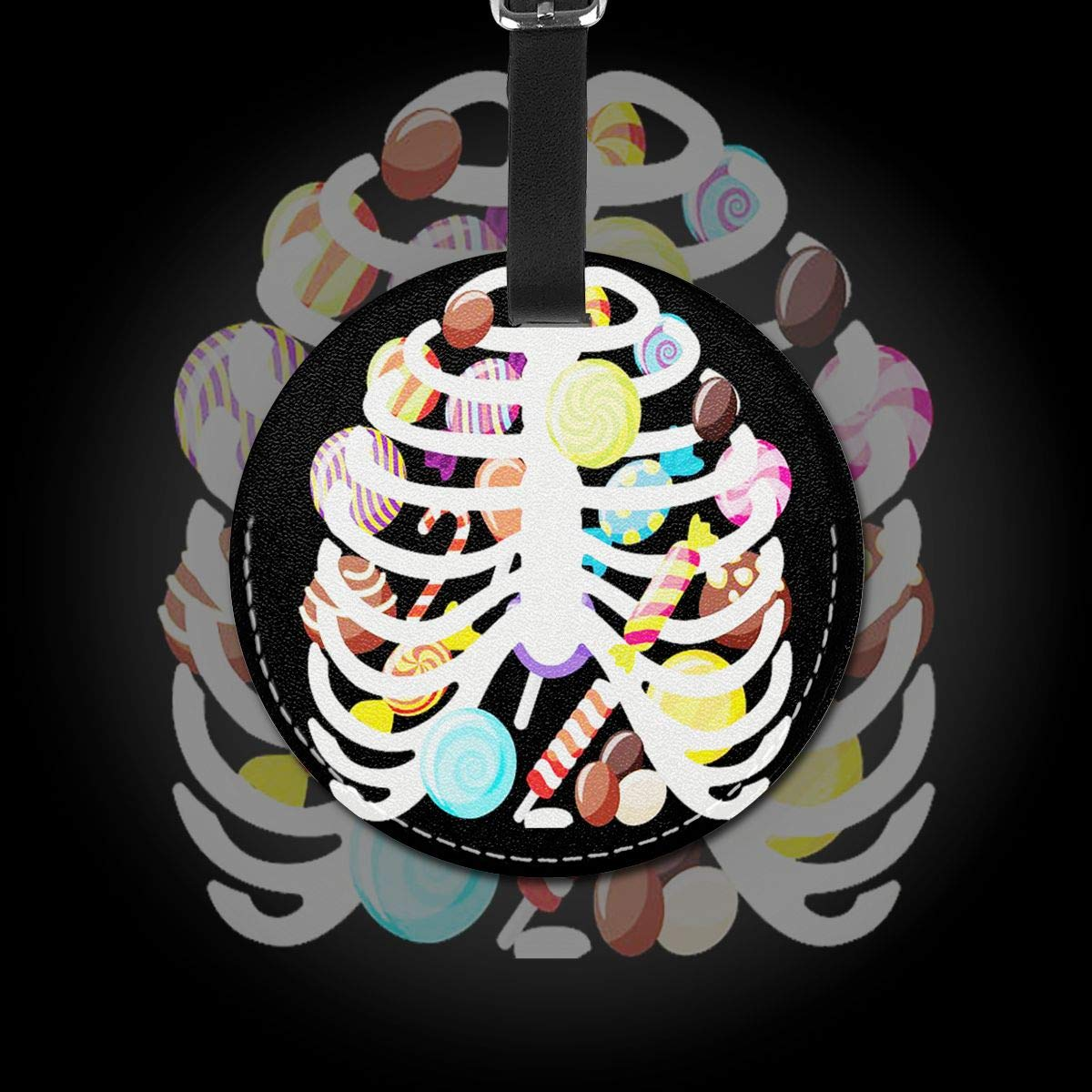 Free-2 Candy Skeleton Rib Cage Luggage Tag 3D Print Leather Travel Bag ID Card