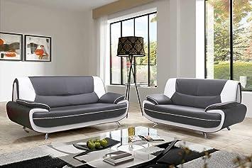 mobilier deco ensemble canap 32 places gris et blanc design muza - Canape Gris Blanc