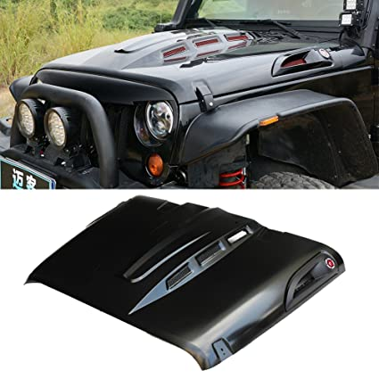 MAIKER The Avenger Style Heat Reduction Hood for Jeep Wrangler JK JKU  Unlimited Rubicon 2007-2017 Black