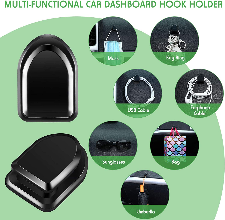 8 Pieces Car Dashboard Hooks Vehicle Black Sticky Hooks ...