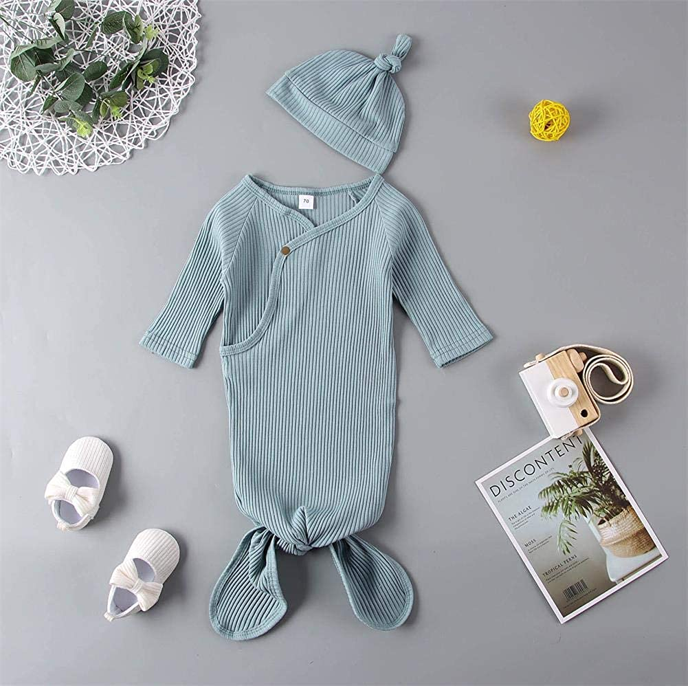 GLIGLITTR Newborn Baby Girls Boy Knit Cotton Knotted Nightgown Soft Sleeper Gown with Hat Set for Unisex Baby
