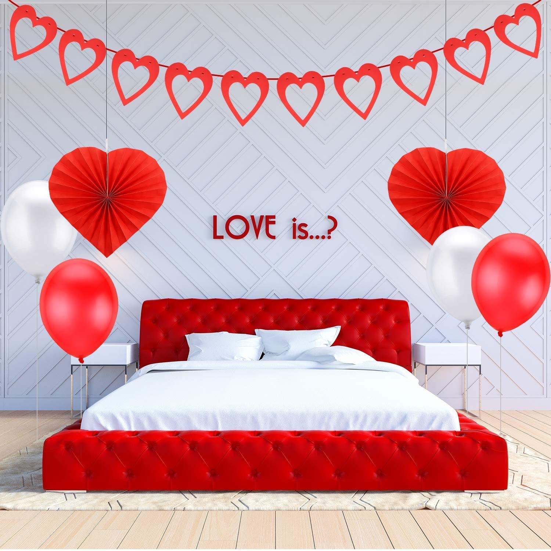 Banner de guirnalda de fieltro de coraz/ón rojo ventiladores de papel de coraz/ón Kit de decoraciones de fiesta del d/ía de San Valent/ín globos de rojos y blancos pompones de papel Paquete de 21