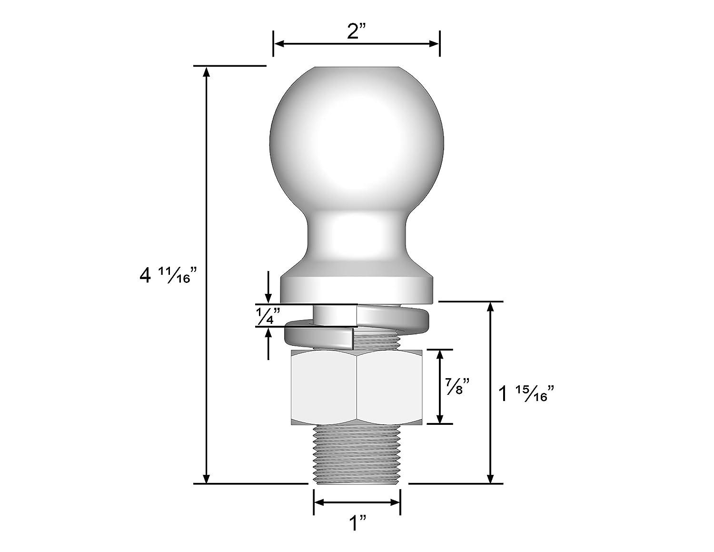 3//4 Diameter x 2 Long Shank 3,500 lbs. Quick Products QP-HB3007 2 Chrome Hitch Ball