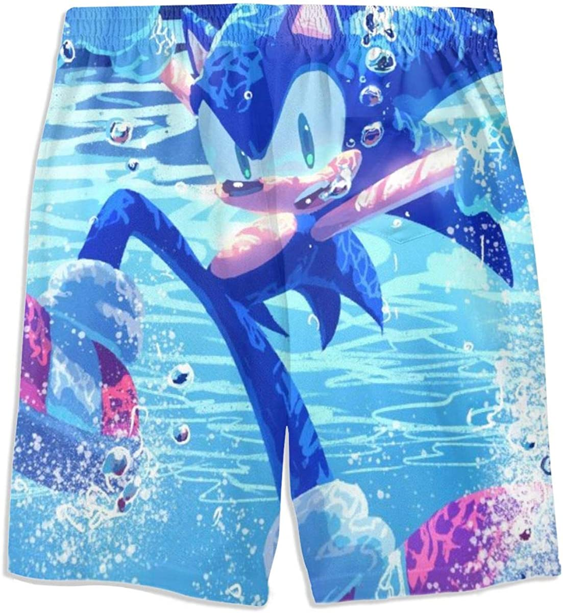 Robprint Sonic-The-Hedgehog Boys Drawsting Swim Trunks Quick Dry Beach Shorts Swimsuit