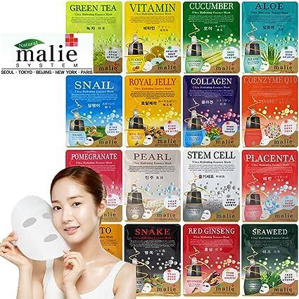 Malie Ultra Hidratante humedad esencia máscara facial hoja coreano cosméticos (16pcs Full Pack): Amazon.es: Belleza