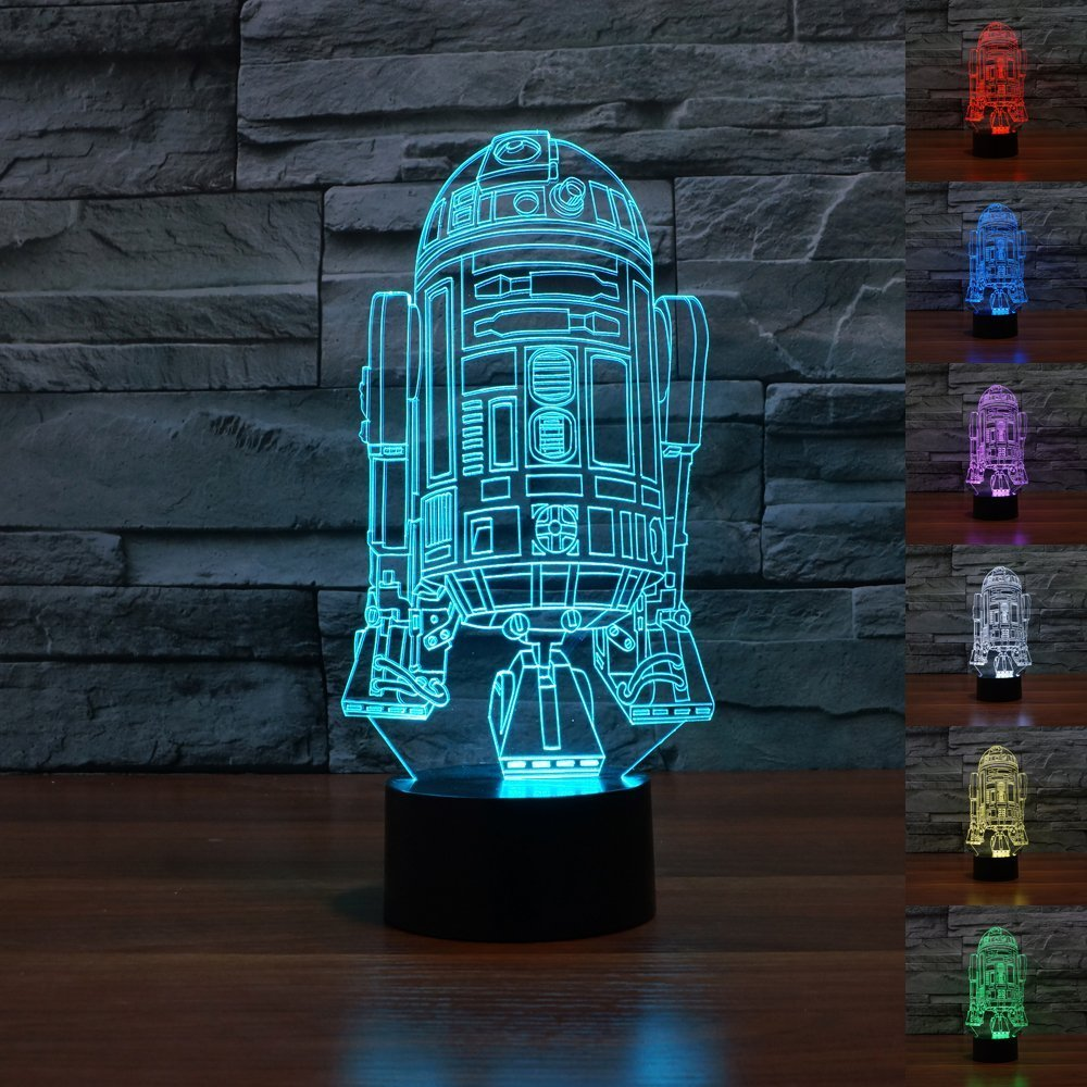Padaday 3D Star Wars Force Awaken R2-D2 Robot Children Room Bedroom decorative Night multi 7 color change USB Touch button LED desk table light lamp