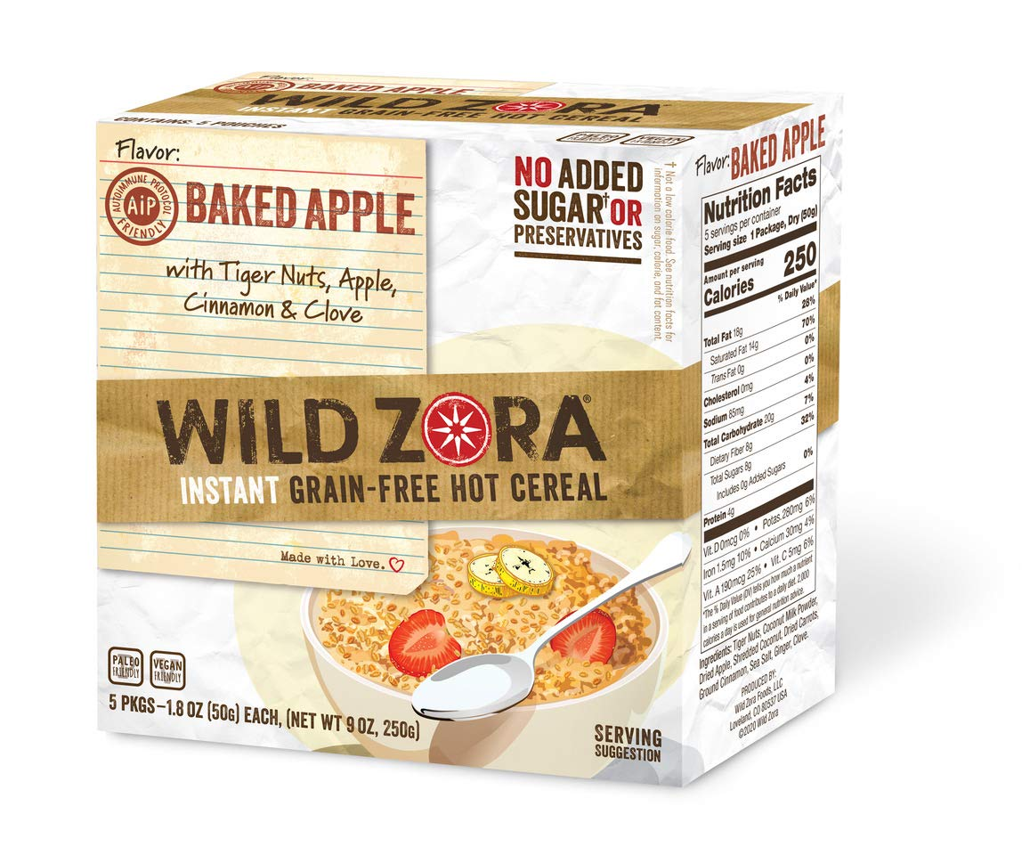 Wild Zora Instant Grain Free Hot Cereal - AIP Baked Apple - Oatmeal Substitute, AIP Friendly, Vegan Breakfast, No Sugar Added, Gluten Free, Nut Free - Individual Packets (5-Pack)