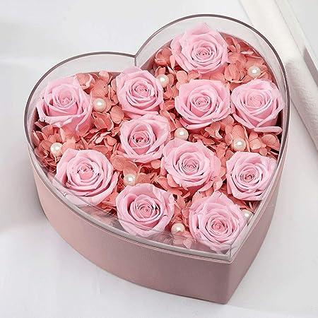 Flor de rosa artificial Preservado Flor Rosa Corazón Caja de ...