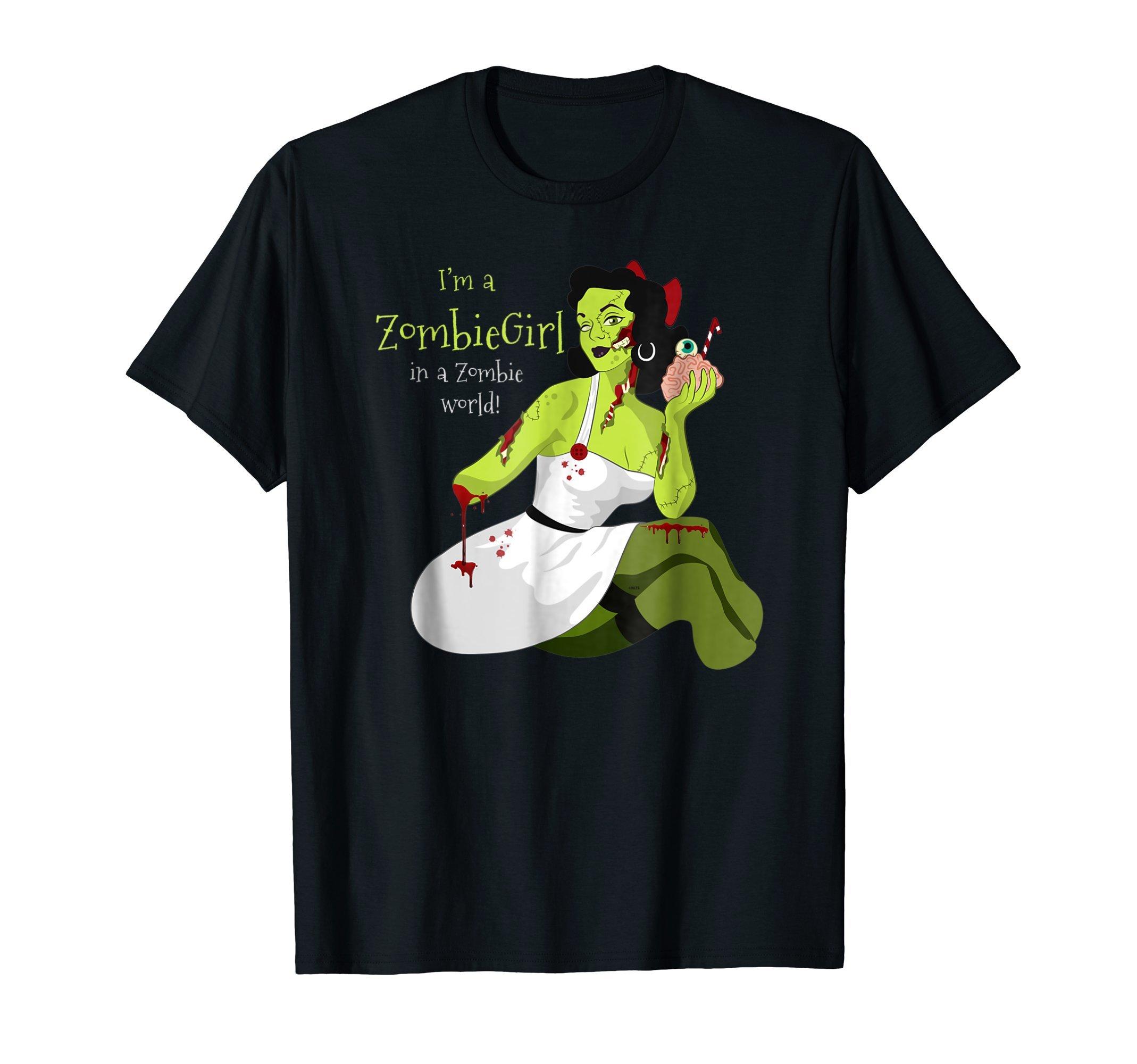 Im-a-Zombie-Girl-Halloween-costume-T-Shirt-Tee-Gift