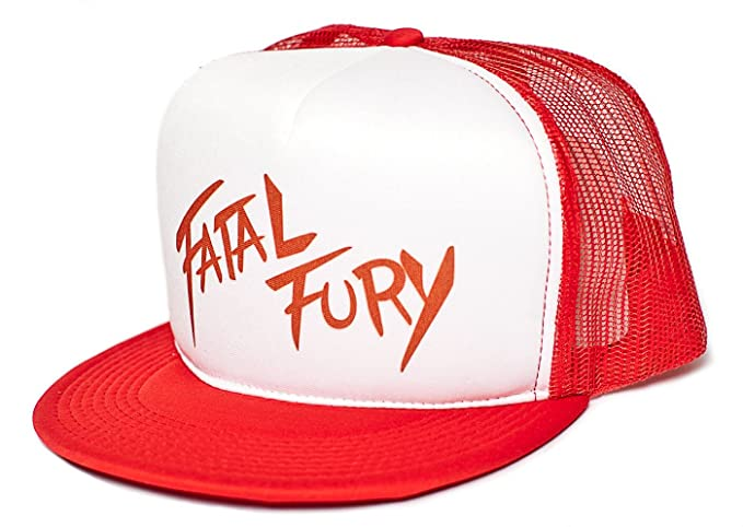 2b016fb3b2ac9 Amazon.com  Fatal Fury Unisex-Adult Trucker Hat -One-Size Red White ...