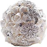 SOLEDI sposa Bouquet, Cristallo Bianco Strass Spilla Bouquet sposa mano azienda fiori