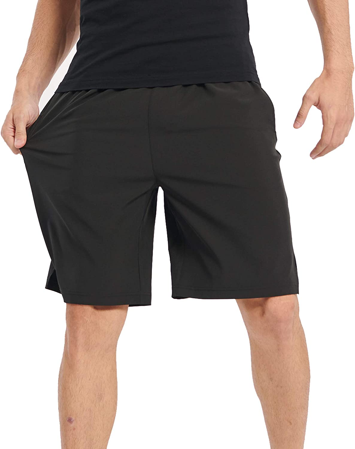 TOP-3 Workout Athletic Gym Mens Shorts for Running Basketball,9 Inch Inseam Elastic Waist with Drawstring and Pockets