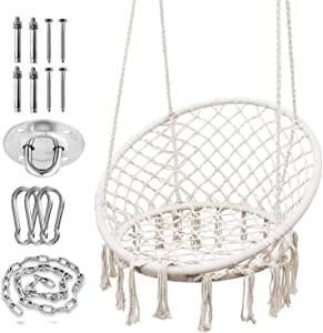 SURPCOS Hammock Chair with Durable Hanging Hardware Kit, Exquisite Dreamy Round Hanging Chair, 100% Cotton Rope Macrame Swing Chairs for Indoor/Outdoor Bedroom Patio Deck or Garden, Max 550LBs, Beige