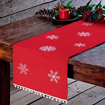 Christmas Table Runner.Aparty4u Embroidered Christmas Table Runners With White Snowflake Red Table Runner Table Linens For Christmas Table Decorations 16x72 Inch