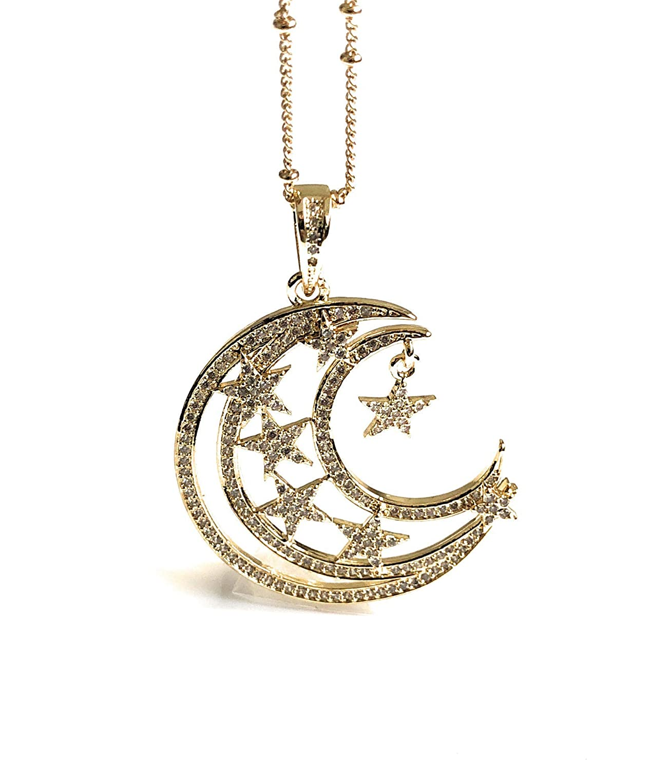 Crescent moon pendant necklace moon and stars 17.5 inches gold disc medallion layer necklace rock crystal drop