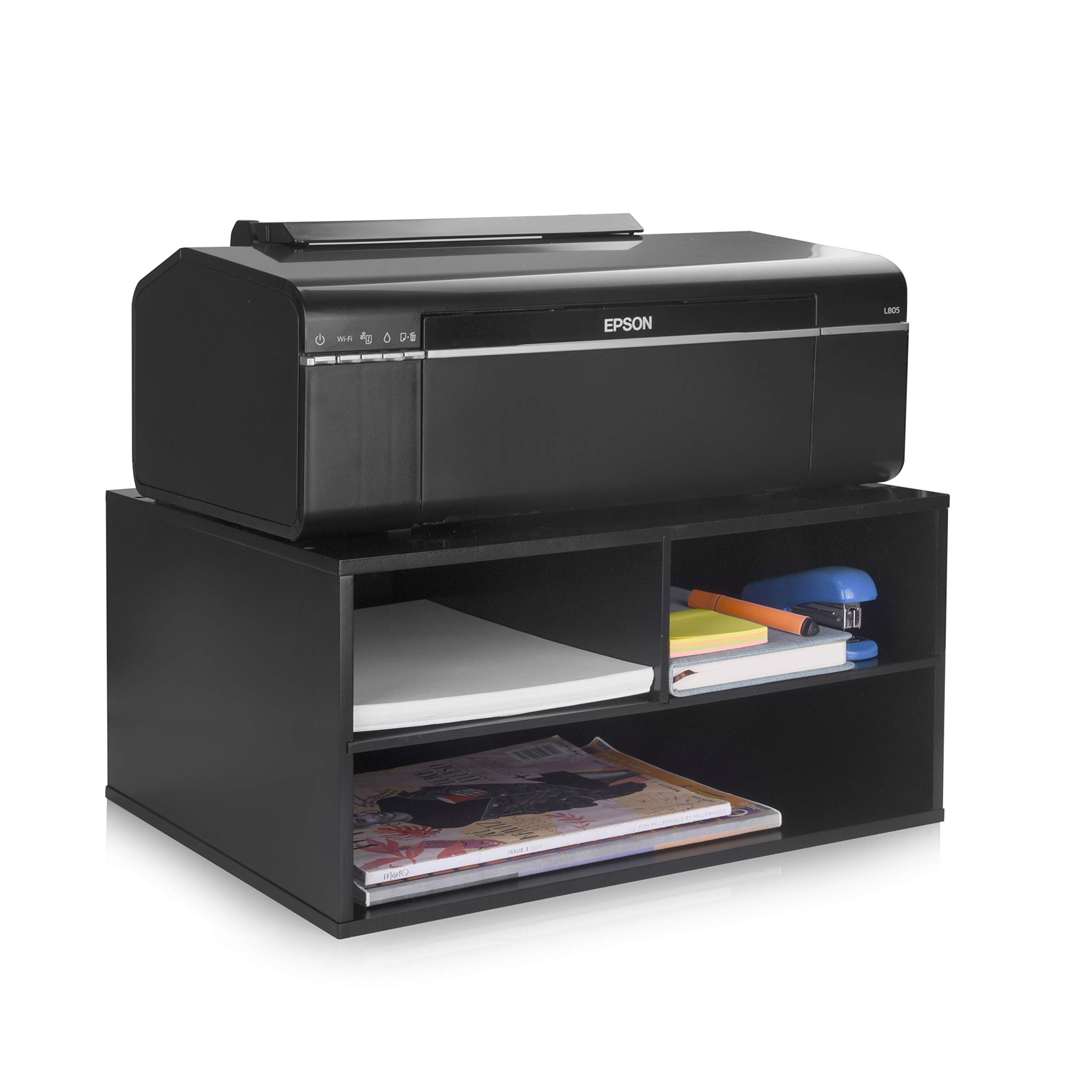 eMerit Wood Two-Tier Printer Fax Stand Shelf Riser Paper Organizer for Home Office Suitable for US Standard Paper,Black by EMERIT