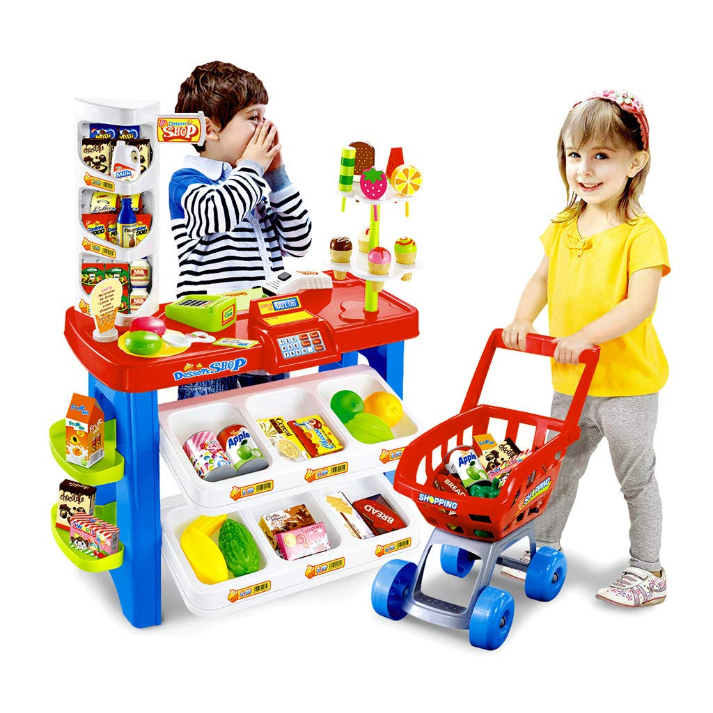 TKI-S Supermarket with Shopping Cart--Ice Cream Candy Shopping Grocery Store Playset with Scanner Large Supermarket Shopping Cashier with Fruit Food Light Effects by TKI-S