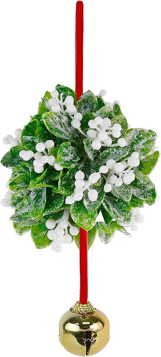 "Mistletoe Ball Decor Kiss Red Green Wall Door Hanging Christmas 4/"" Ornament"