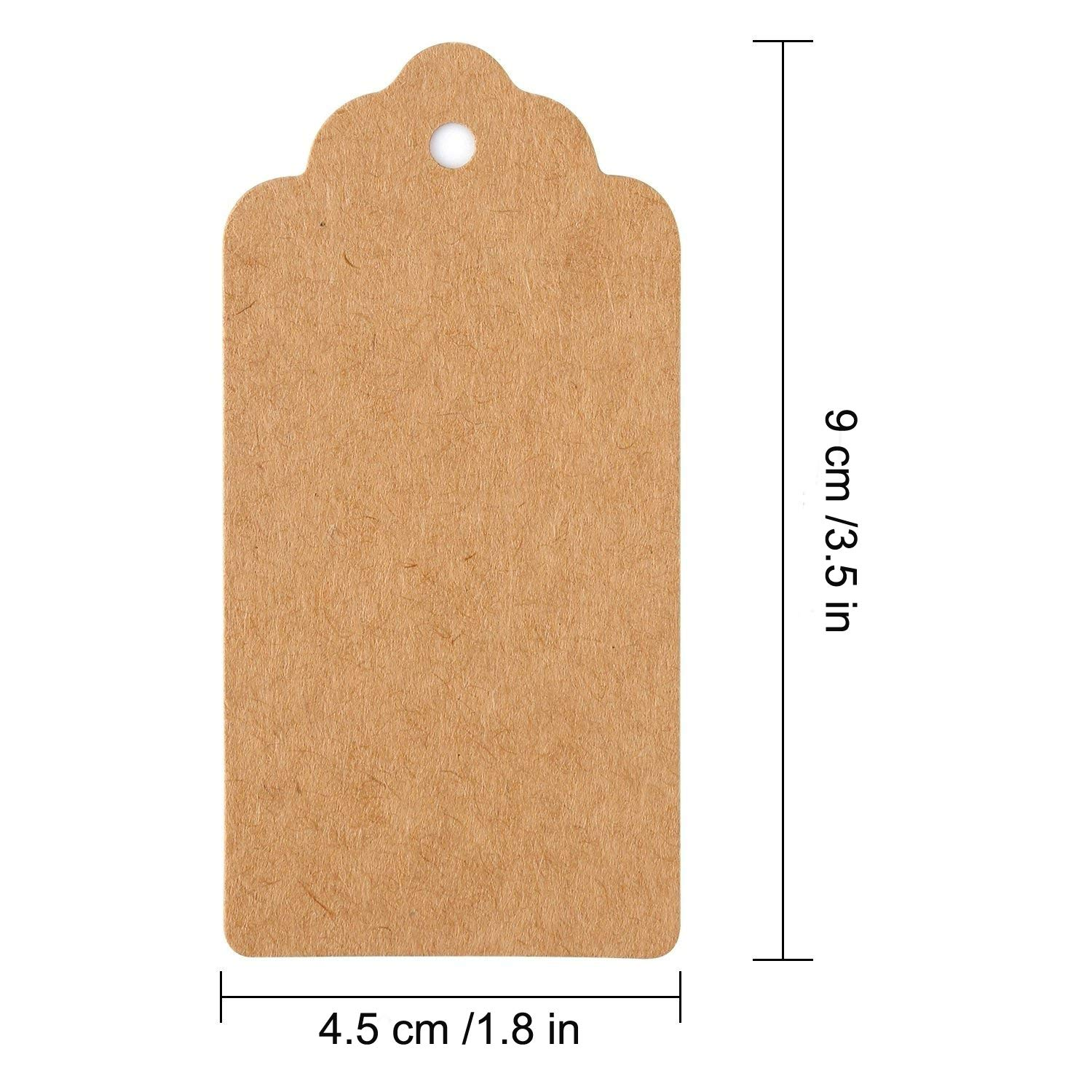 Gift Tags Personalized Kraft Paper Tag DIY Craft Price Tags 100 PCS Brown for Wedding Party Favors Baby Shower Birthday Christmas with Bonus 33 Feet Natural Jute Twine