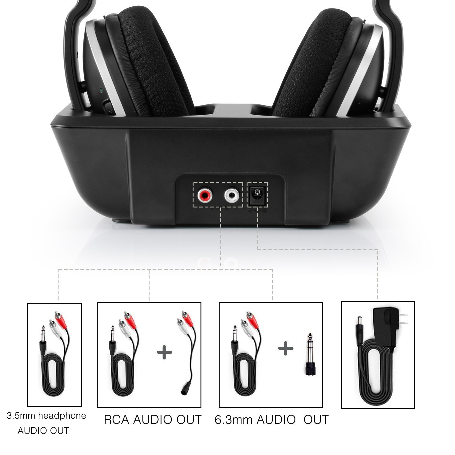 Wireless TV Headphones Over Ear Headsets - Digital Stereo Headsets with 2.4GHz RF Transmitter, Charging Dock, 100ft Wireless Range and Rechargeable 20 Hour Battery, Black by ARTISTE (Image #7)