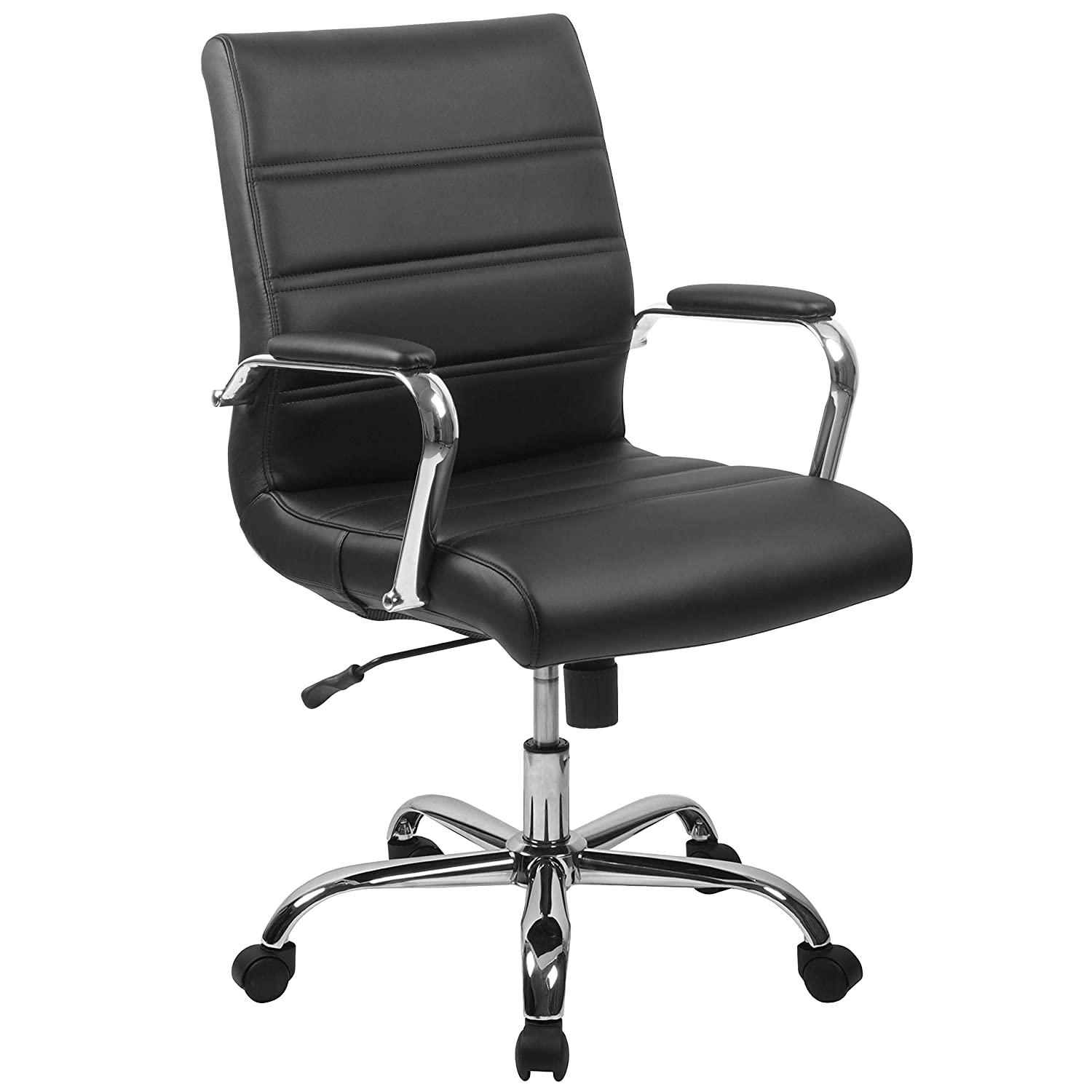 Flash Furniture Mid-Back Black Leather Executive Swivel Office Chair with Chrome Base and Arms