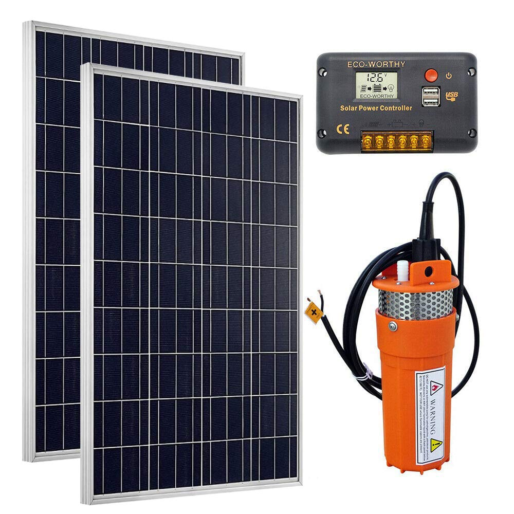24V Submersible Pump ECO-WORTHY Solar Water Pump Kit 20A Charge Controller for Deep Well Watering 2pc 100W Solar Panel