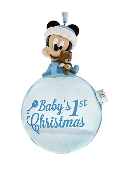 disney parks blue baby mickey mouse babys first christmas ornament with snow