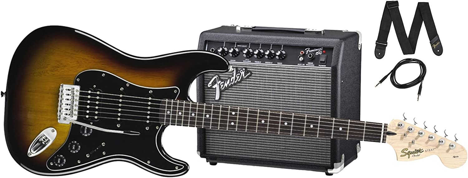 Squier By Fender Stratocaster Beginner Electric Guitar Pack With Frontman 15G Amplifier