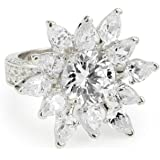 """CZ by Kenneth Jay Lane """"Elegant Cubic Zirconia"""" Rhodium-Plated Flower Petals Ring, Size 7, 10 CTTW"""